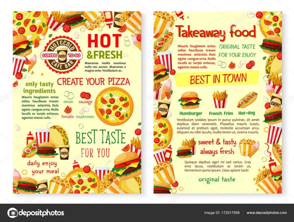 restauration rapide pizza burger vector emporter menu affiche image vectorielle seamartini. Black Bedroom Furniture Sets. Home Design Ideas