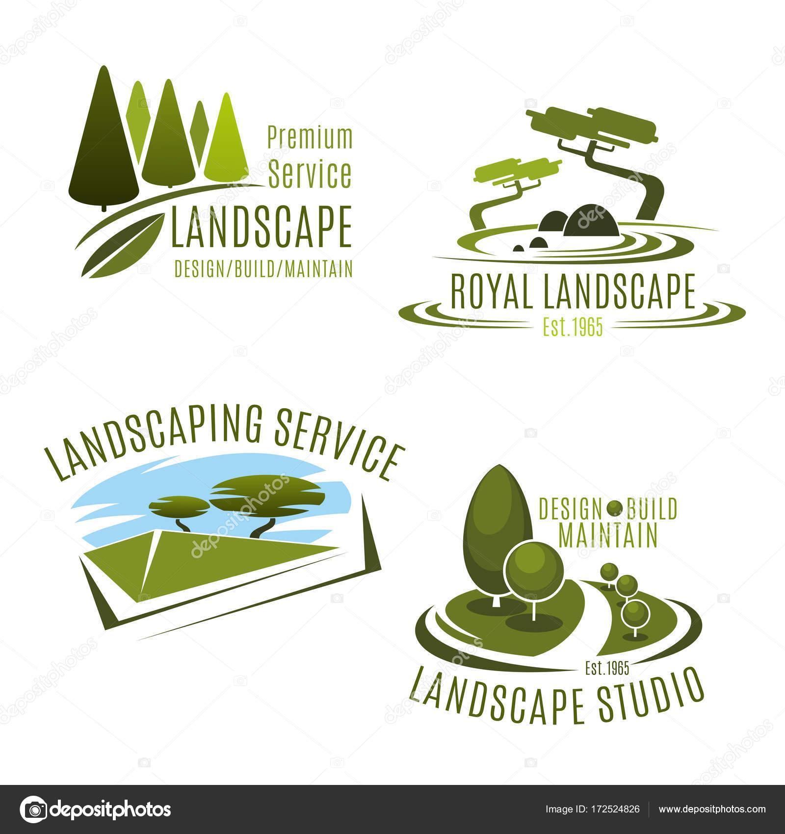 Empresa de diseño de iconos de vector de jardinería paisaje ...