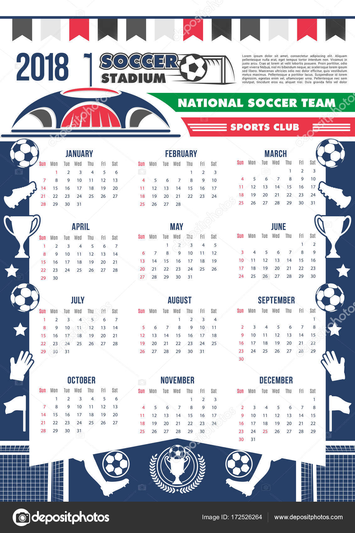 Vector 2018 Calendar Template Soccer Football Stock Vector