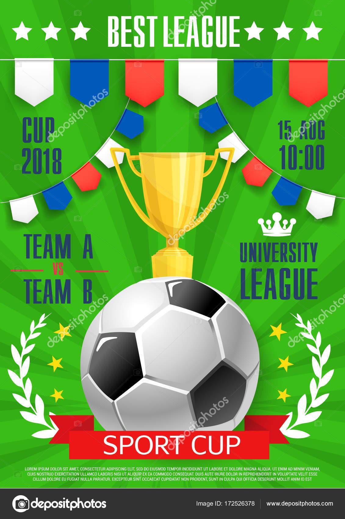 Vector poster futbol Universidad Liga de fútbol — Archivo Imágenes ...