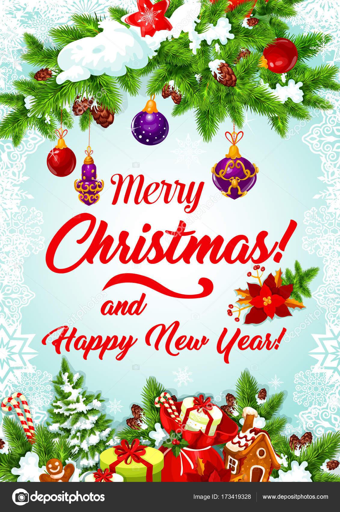 Weihnachtsbaum Girlande.Weihnachtsbaum Girlande Für Neujahr Grußkarte Stockvektor