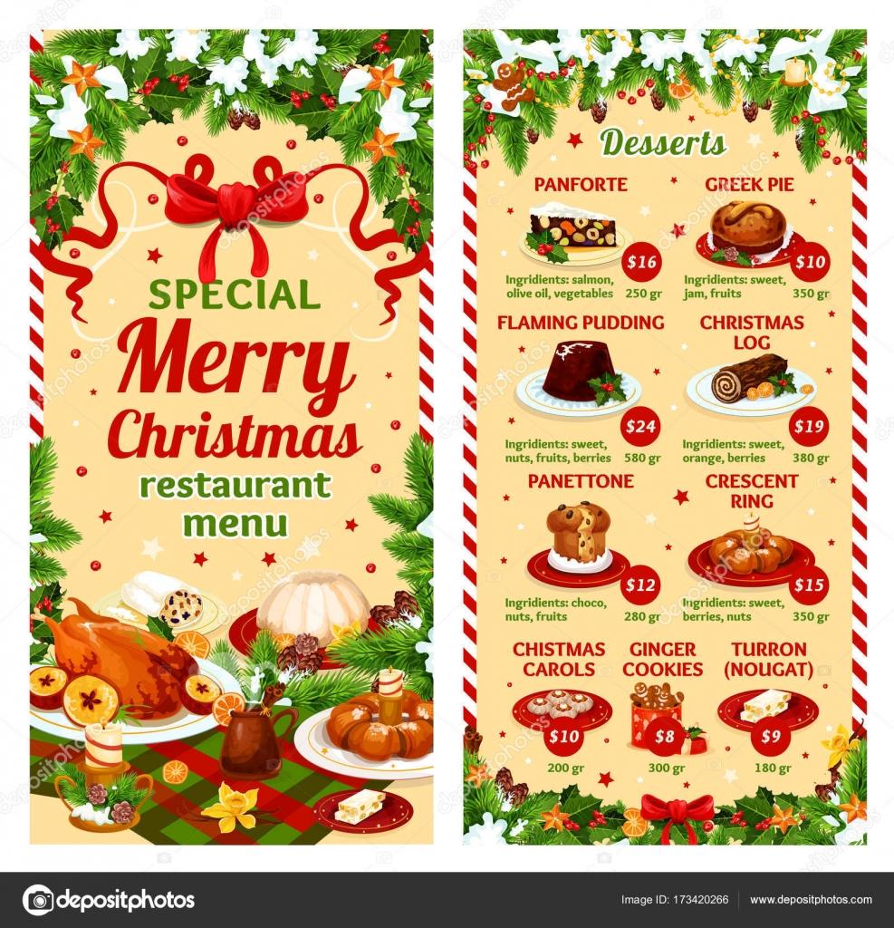 Postres Para Una Feliz Navidad.Cena De Navidad Vector Carta De Postres De Restaurante