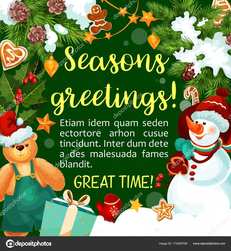 Christmas Vector Winter Holiday Season Greeting Stock Vector