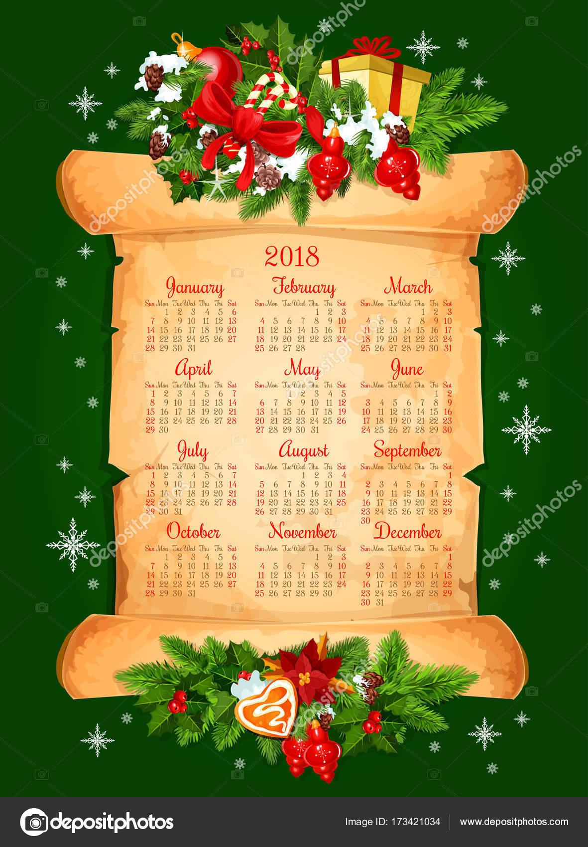 Calendario de 2018 de la vacaciones de Navidad vector diseño ...