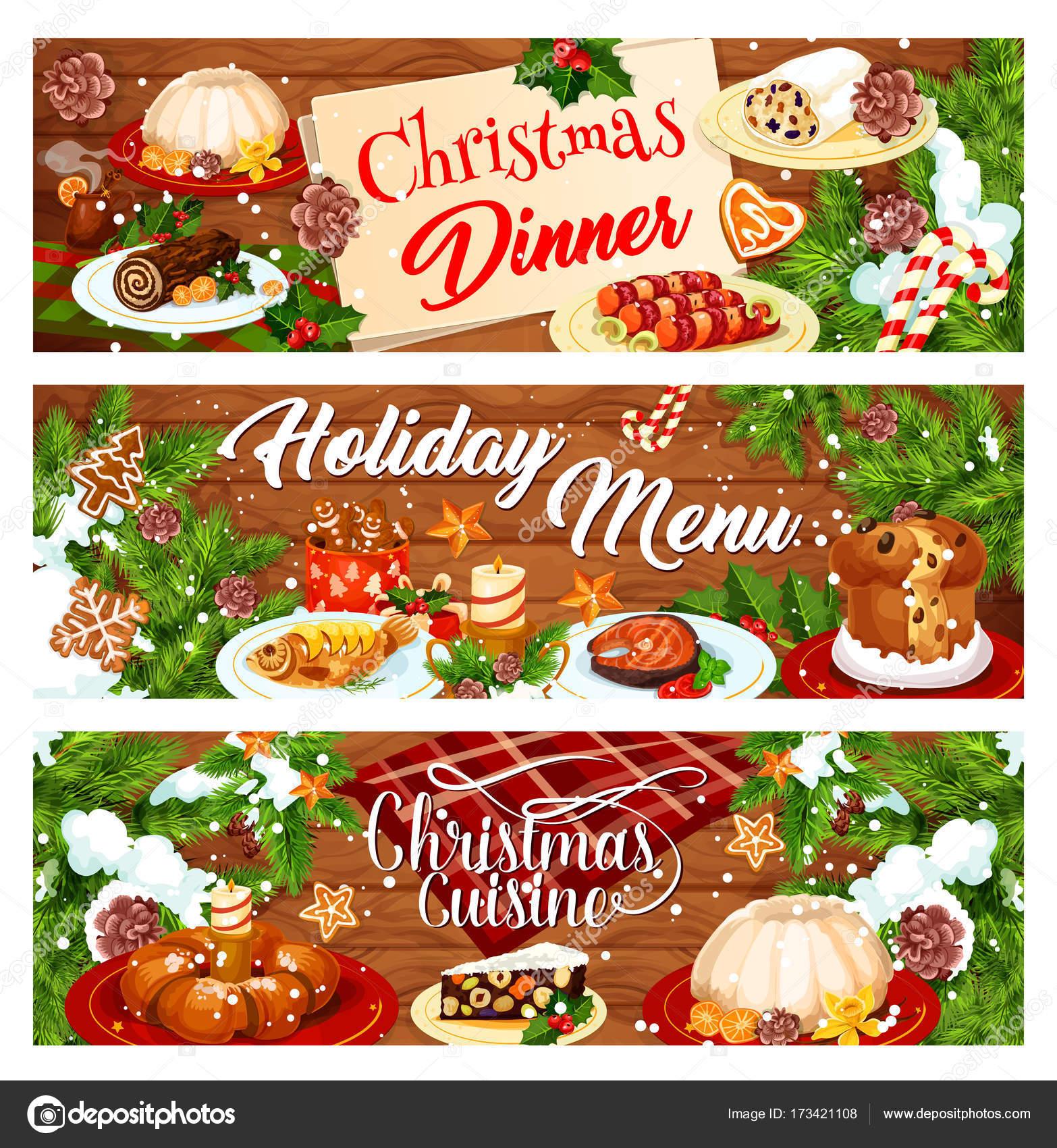 Menü Weihnachten.Weihnachts Menü Banner Mit Weihnachten Abendessen Stockvektor