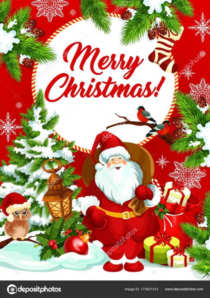 Merry Christmas Wishes Greeting Cards.Merry Christmas Vector Santa Gifts Greeting Card Stock