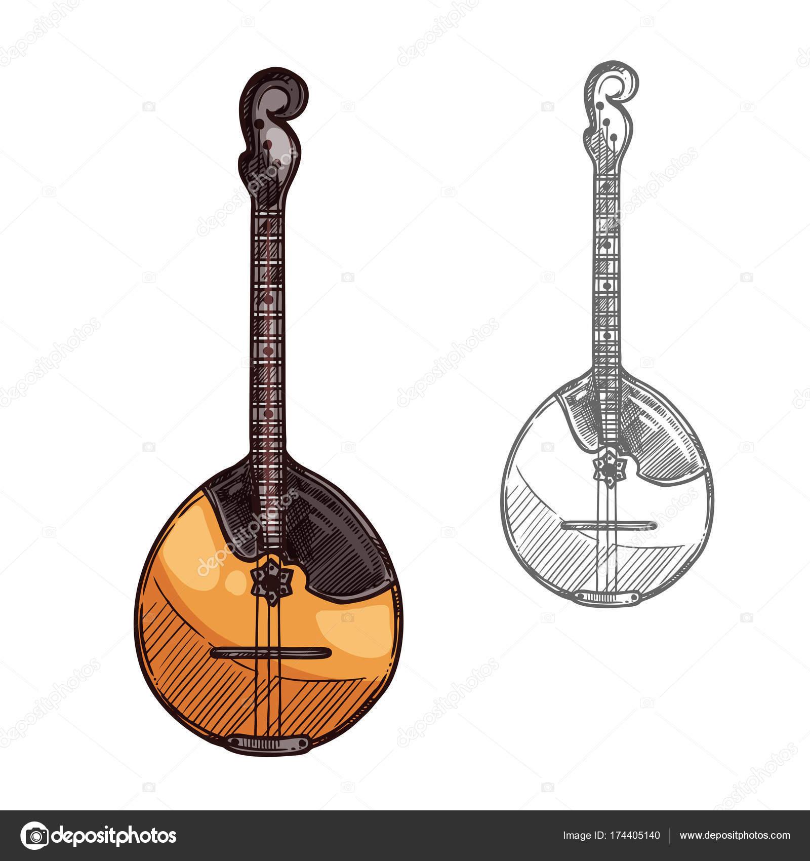 Domra oder mandoline skizze-russische musik-instrument.