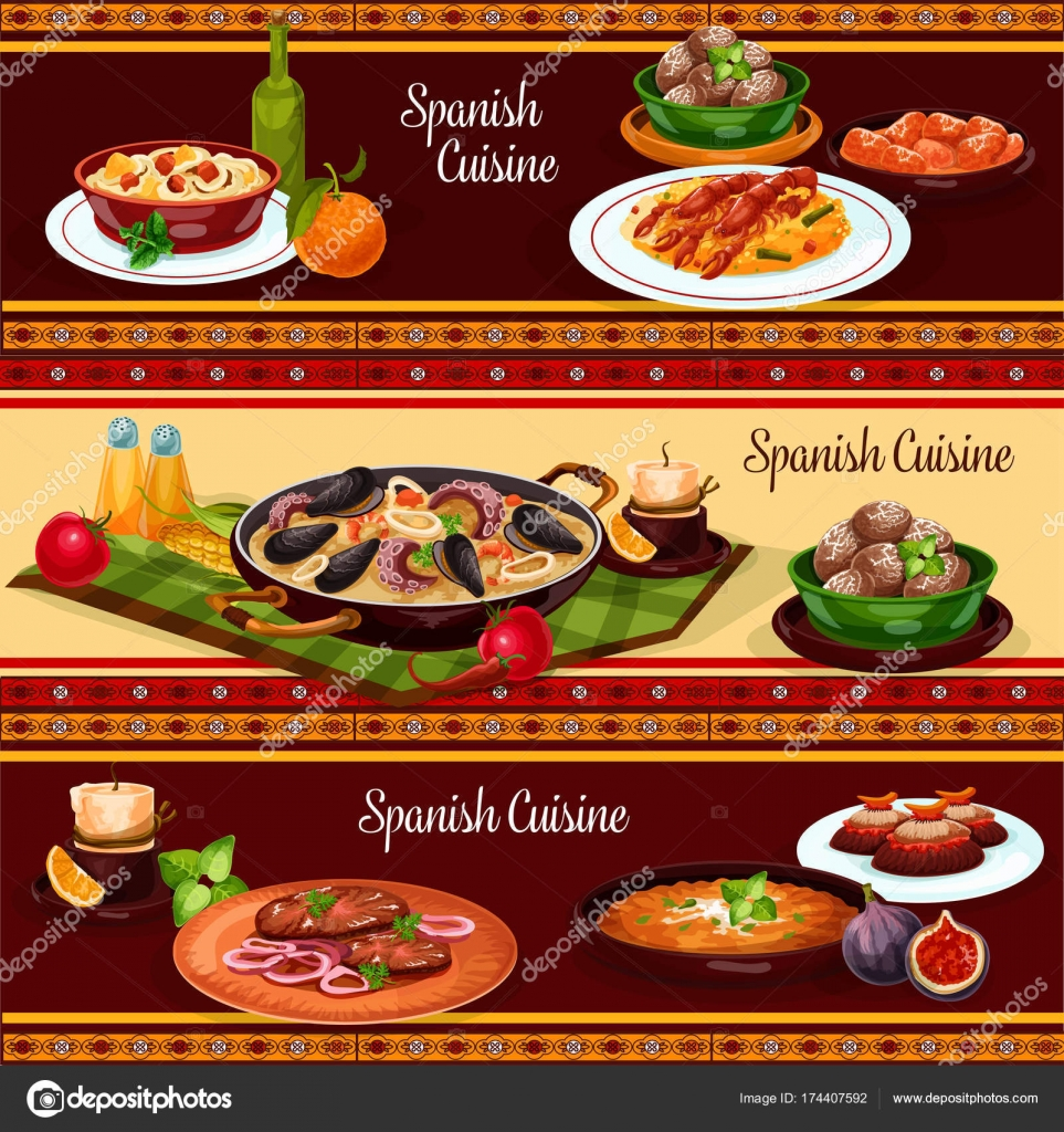 Spanische Küche, mediterrane Küche-Banner-set — Stockvektor ...