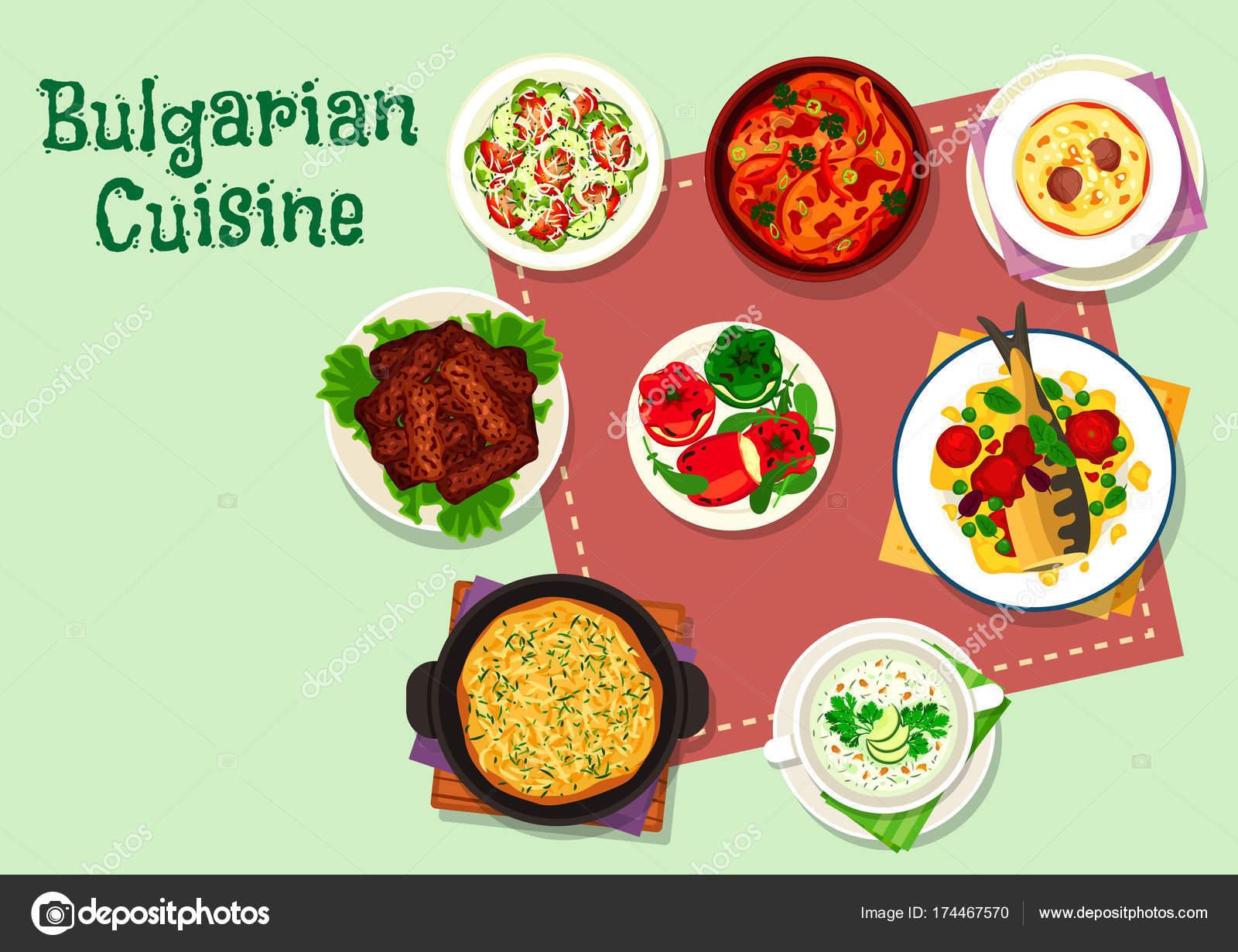 Bulgarische Küche-Abendessen-Menü-Symbol für Food-design ...