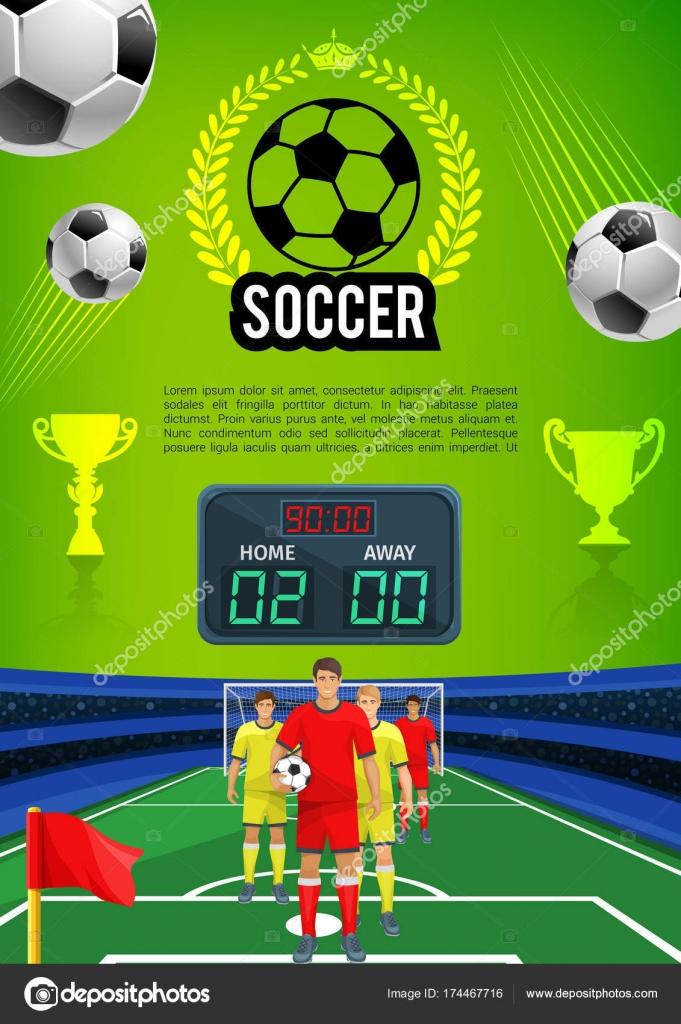 a1d4a0b1f Futebol jogo esporte jogo banner com campo de futebol — Vetores de Stock