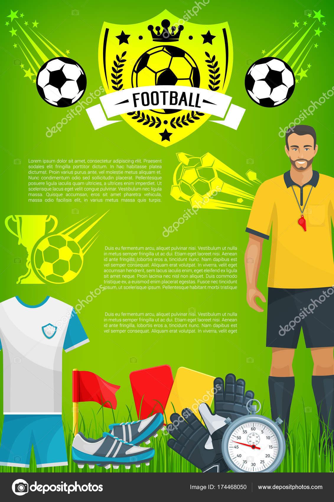 aaf31222e Futebol esporte jogo banner com o emblema do clube de futebol — Vetor de  Stock