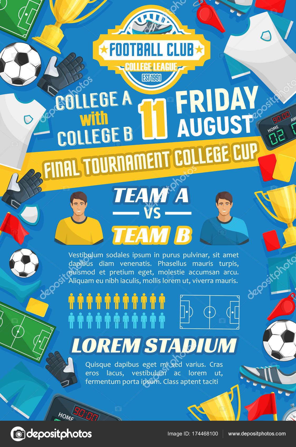 Fußballspiel Plakat für Fußball-Sport-Spiel-design — Stockvektor ...