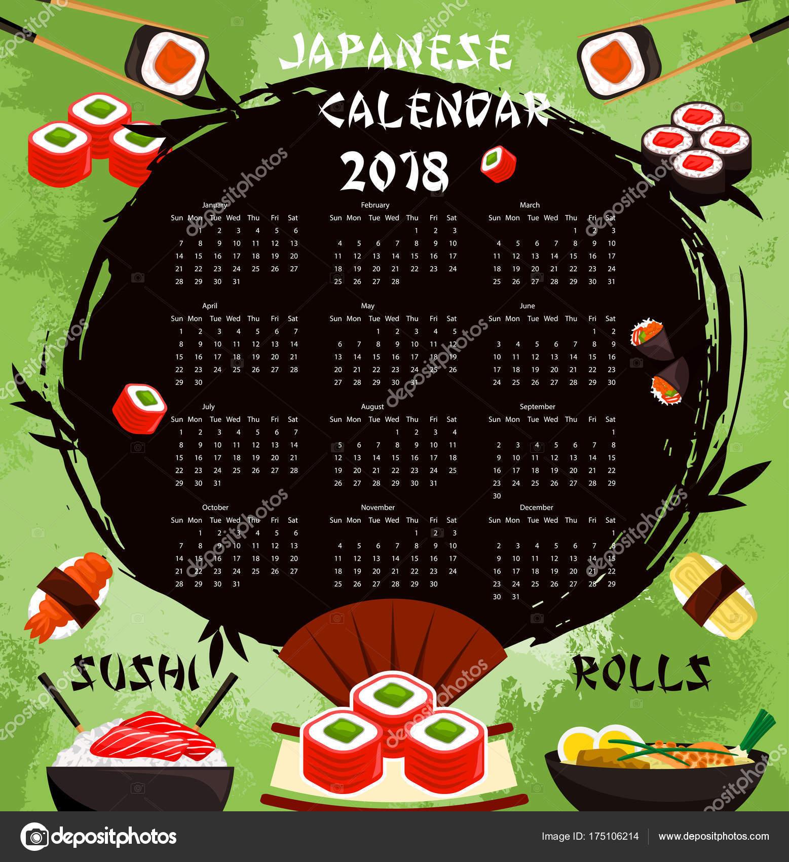 Calendario de alimentos de sushi japonés vector 2018 — Vector de ...