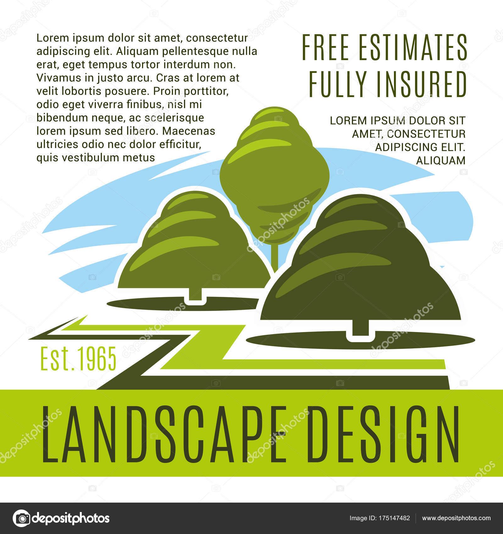 Cartel de vector para empresa de diseño de paisaje — Archivo ...
