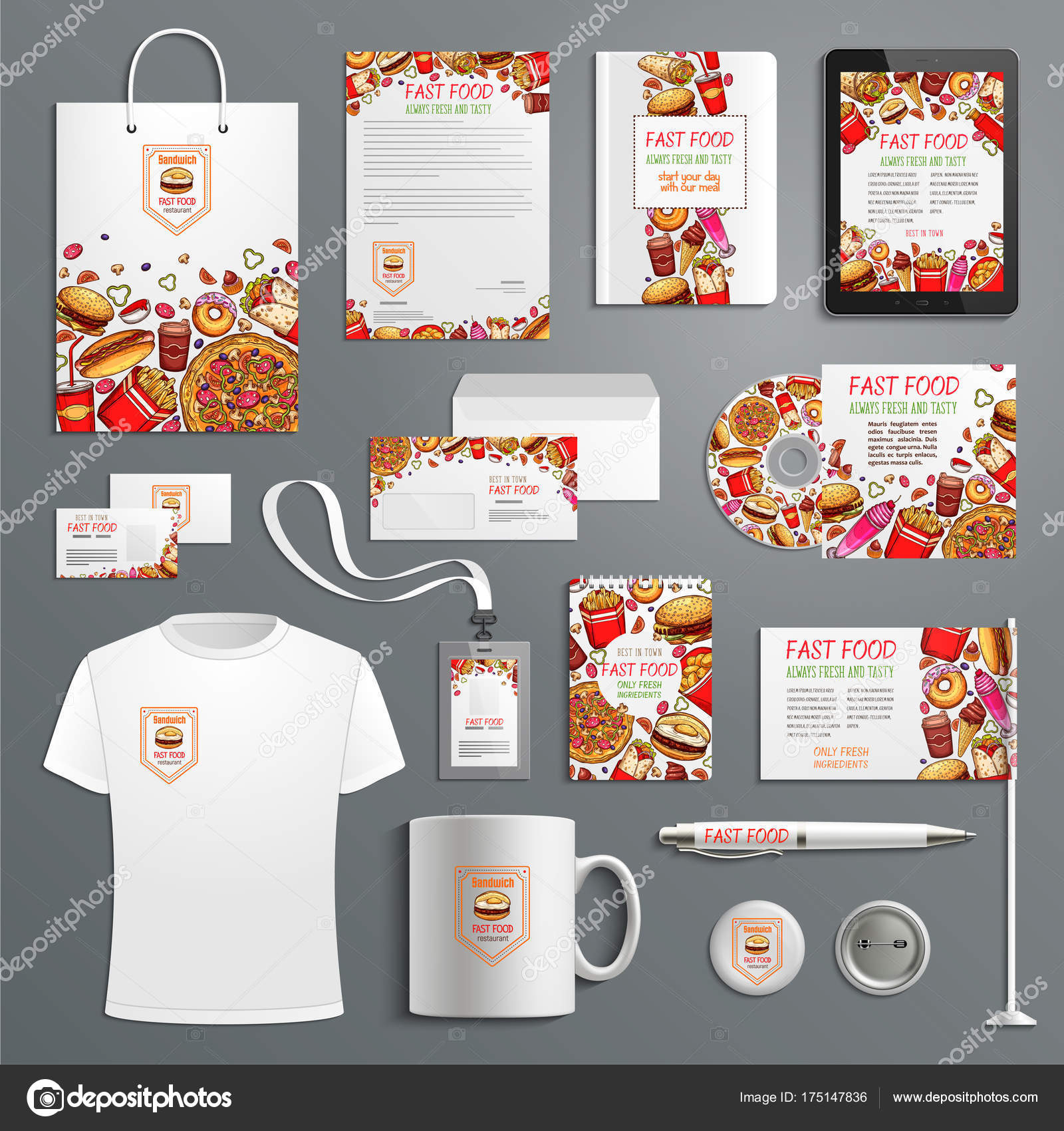 Fast food étterem és gyorsétterem hamburgerek reklám promóciós elemek  sablon a cég márkajelzésével van ellátva. Vektor márkás ruházati és irodai  papíráru ... be9a725434