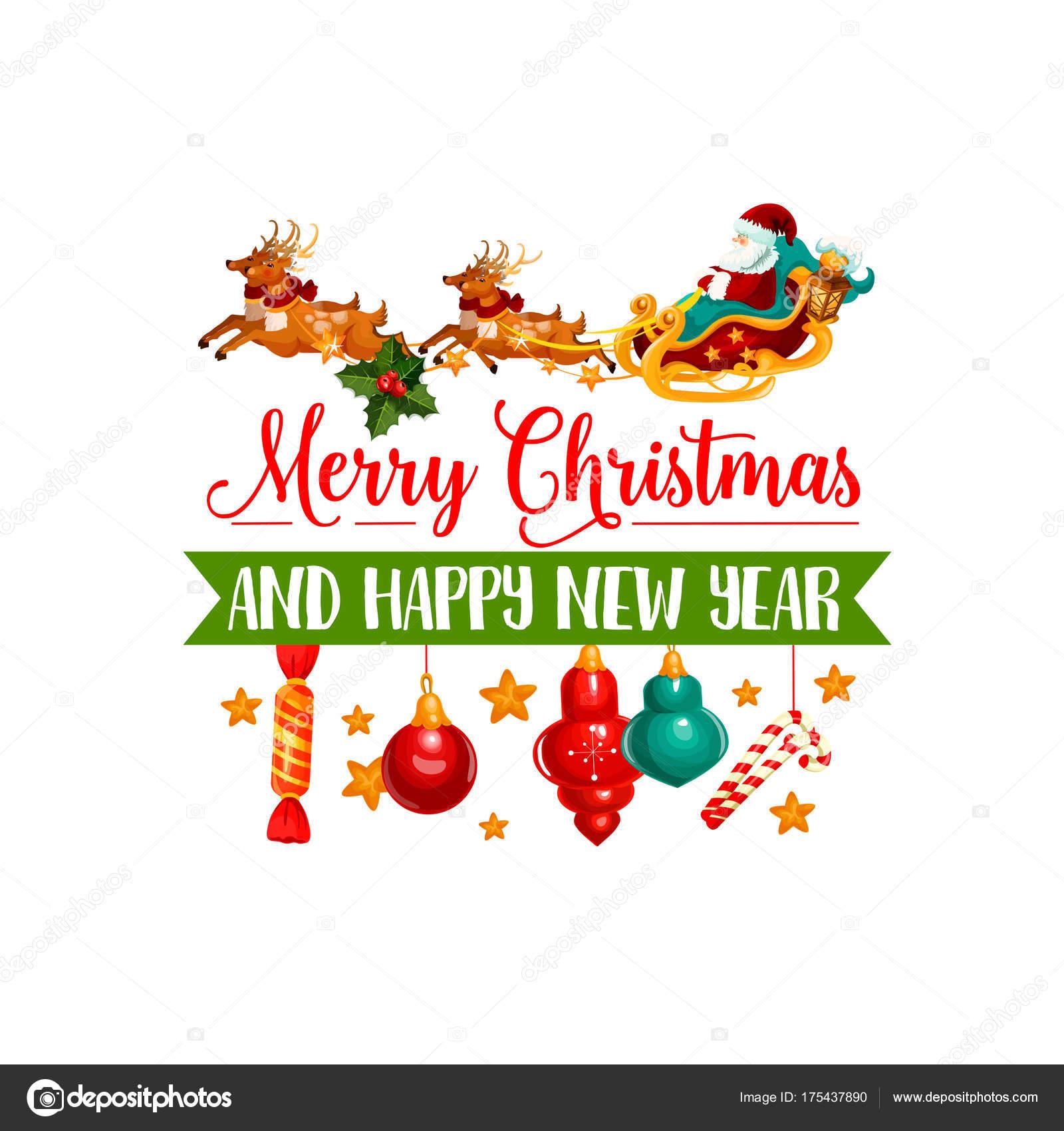 Weihnachten Geschenk, Weihnachtsmann und Rentier-Schlitten-Symbol ...