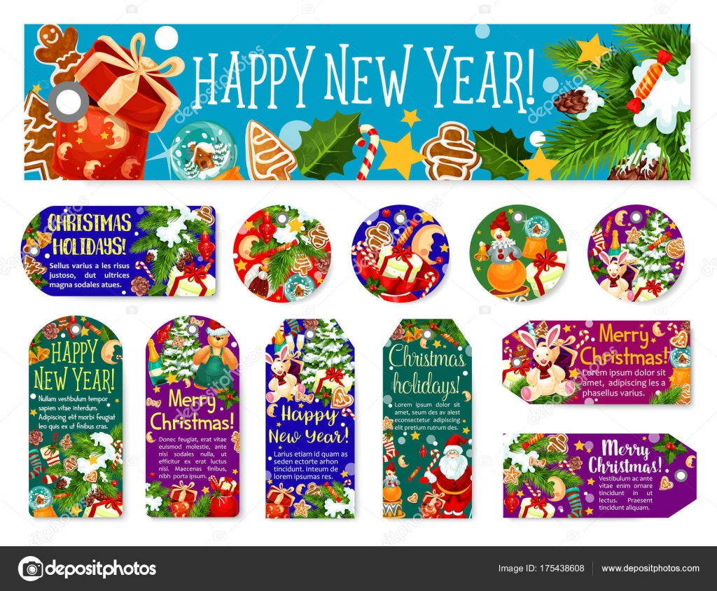 christmas new year wish greeting vector tags stock vector