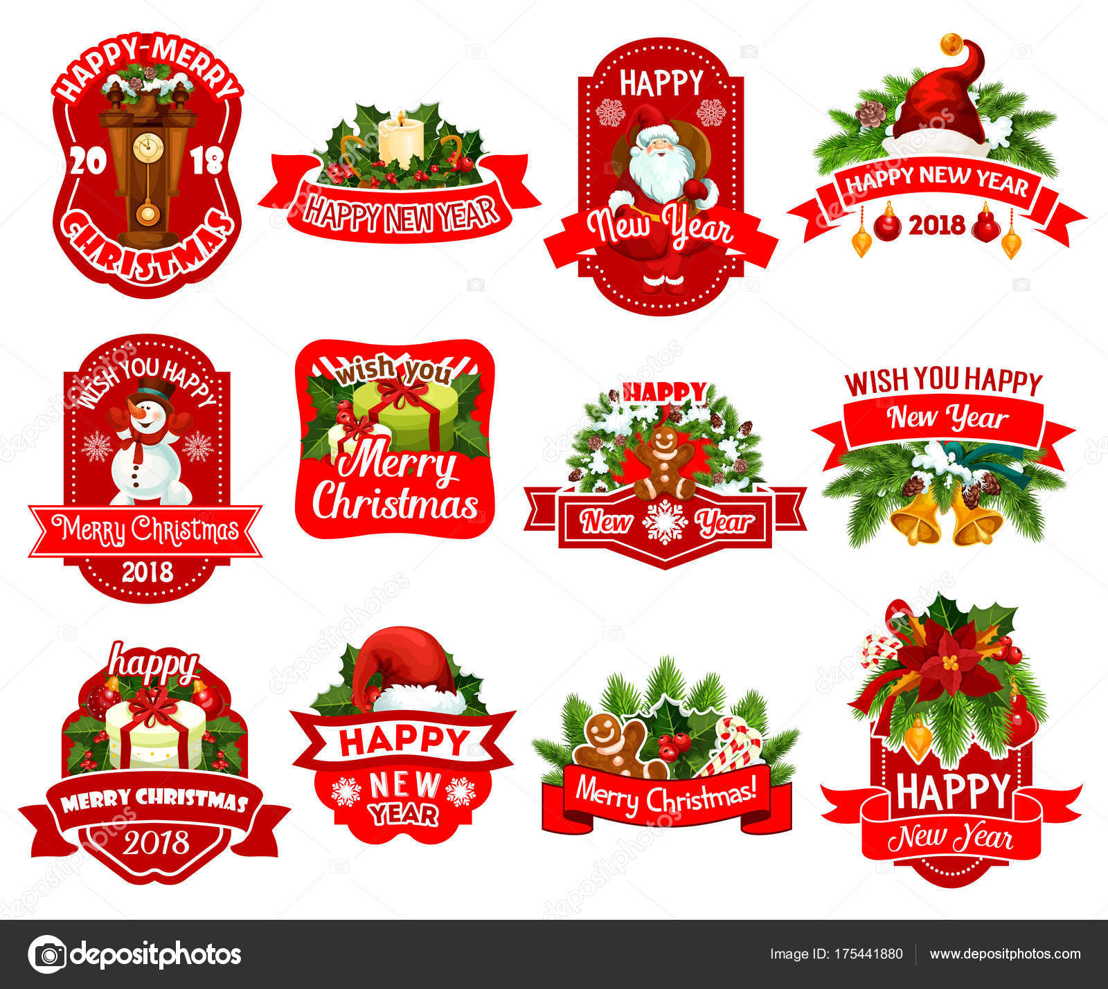 christmas and new year holidays gift label design stock vector