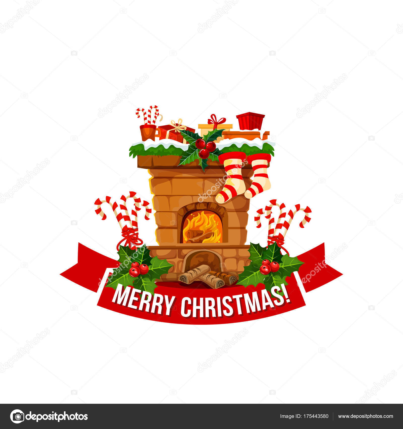 merry christmas fireplace chimney vector icon stock vector