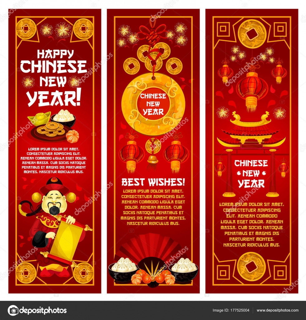 chinese new year greeting banner with oriental lantern god of prosperity and wealth with golden coin pagoda and paper fan festive card decorated by