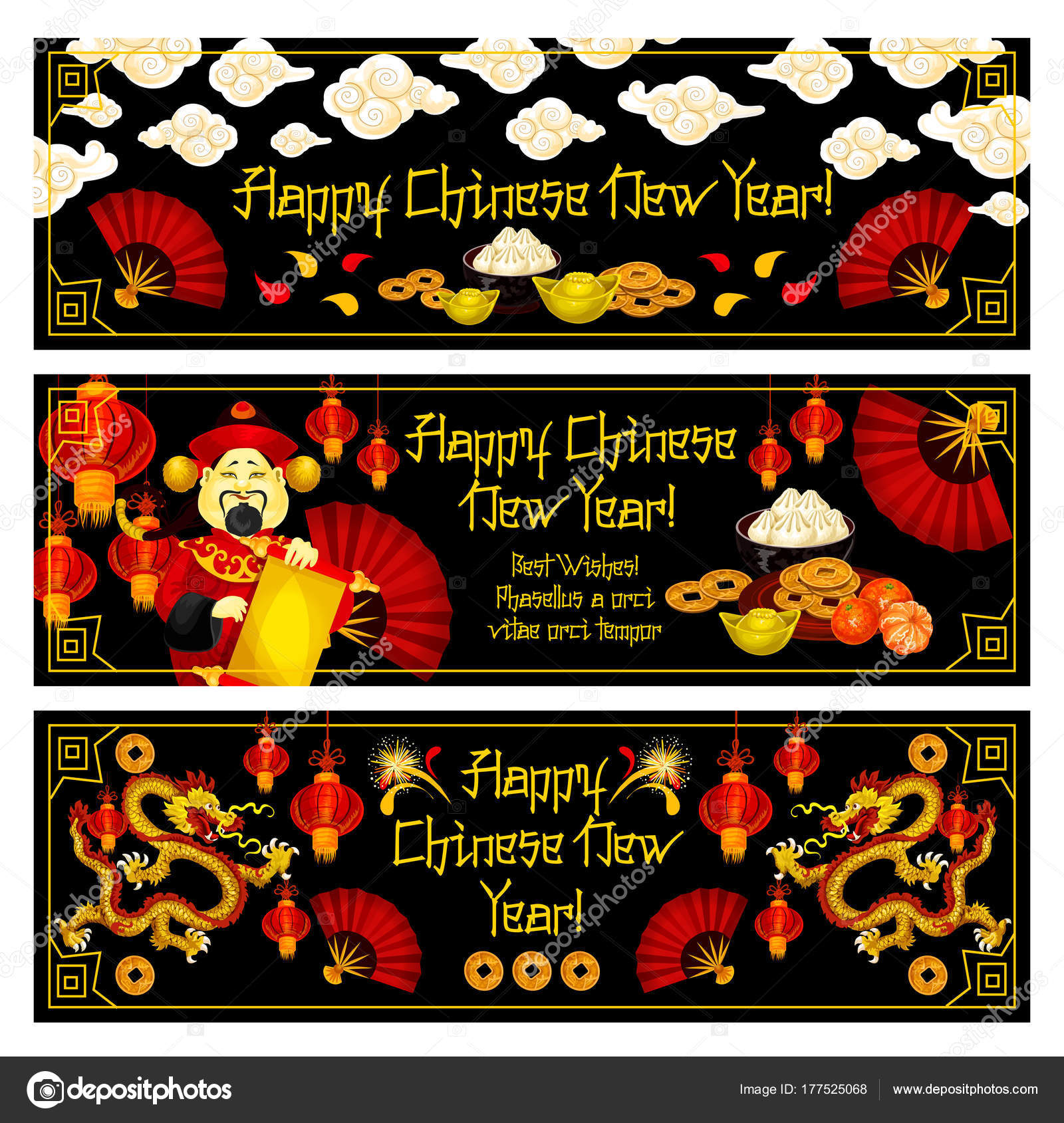 Chinese New Year Vector Golden Decoration Banners Stock Vector