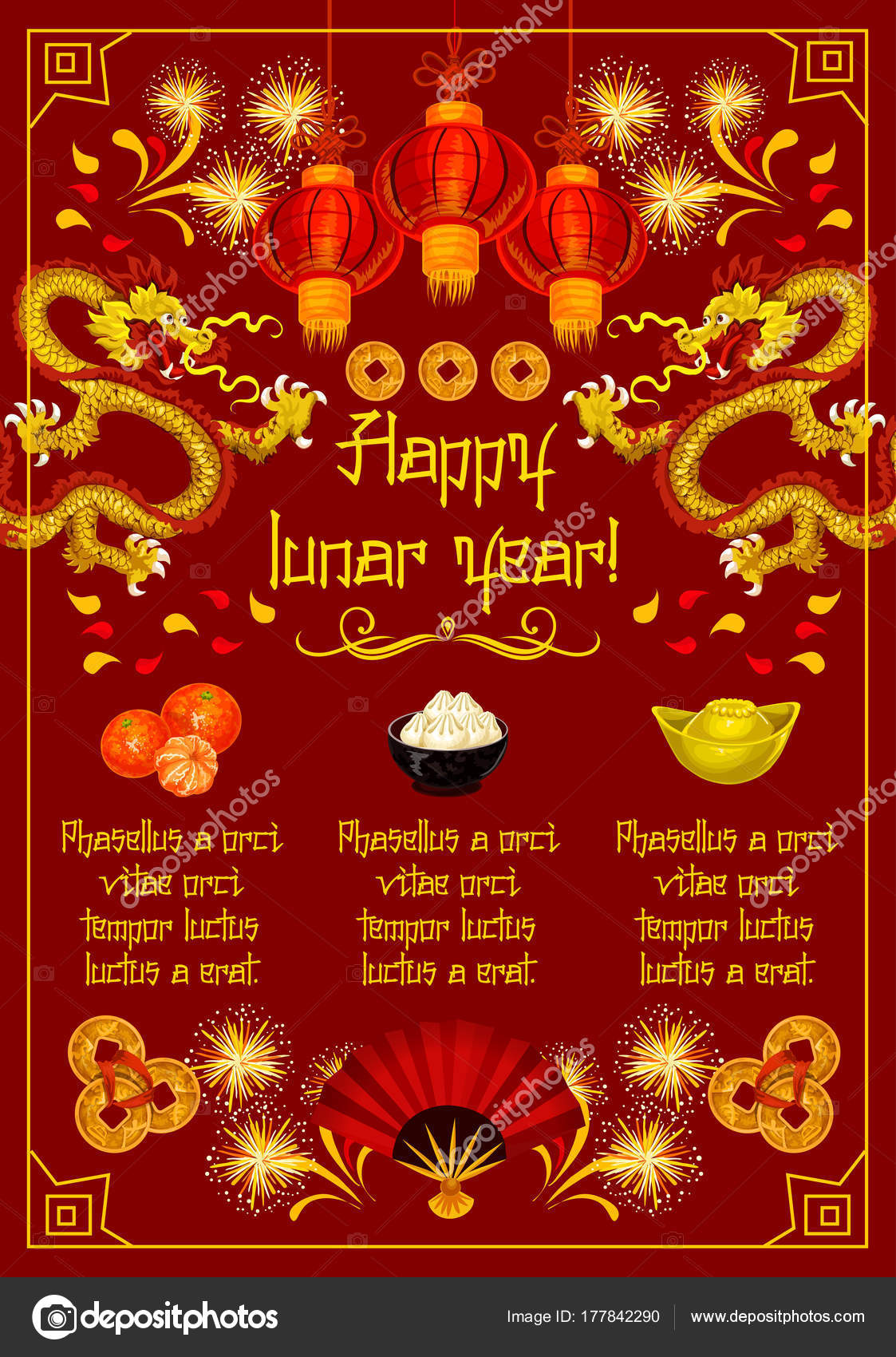 Chinese New Year Vector Gruß Dekoration banner — Stockvektor ...