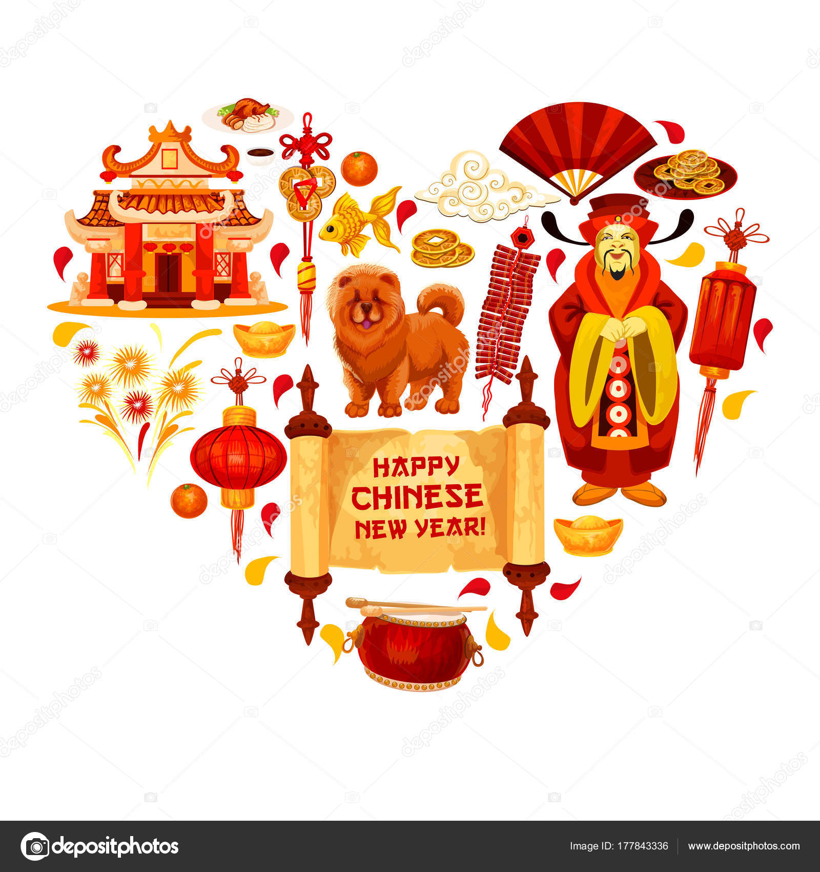 Chinese New Year Vector China Heart Greeting Card Stock Vector