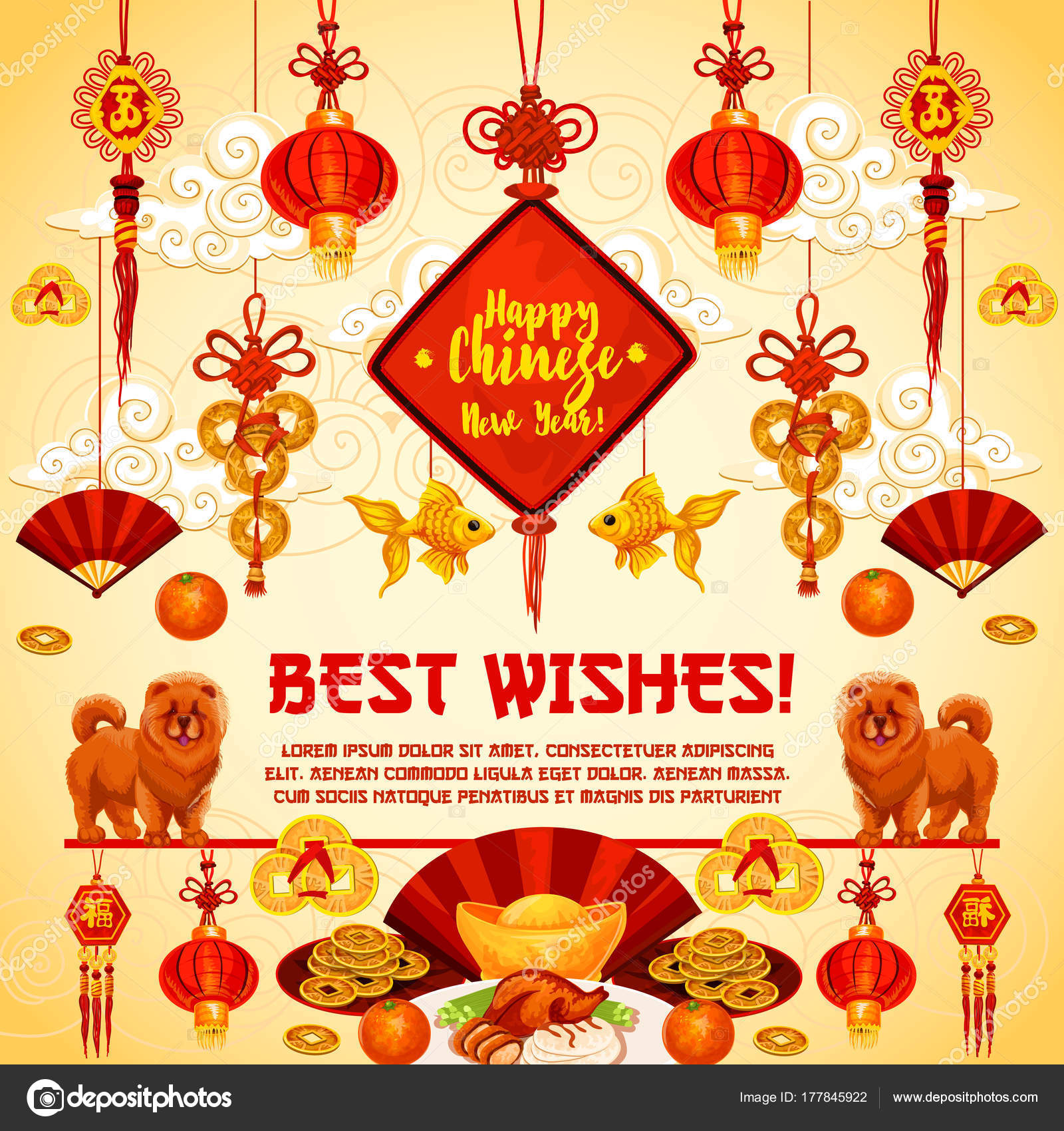 Chinese New Year Vector Greeting Card Stock Vector Seamartini