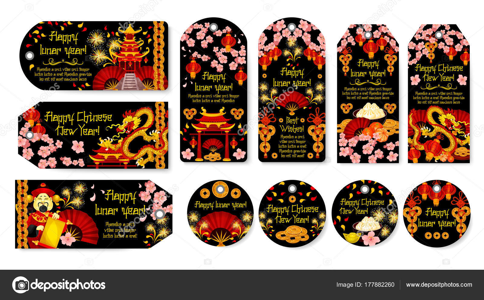 Chinese New Year Vector Gruß tags — Stockvektor © Seamartini #177882260