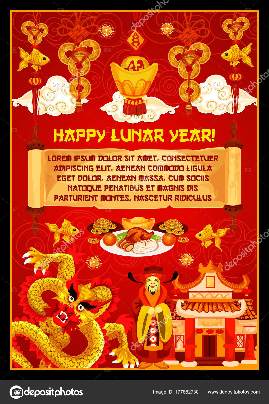 Chinese new year banner with god of prosperity stock vector happy lunar year greeting card for chinese new year celebration oriental spring festival pagoda dragon and god of wealth banner adorned by lucky coin m4hsunfo