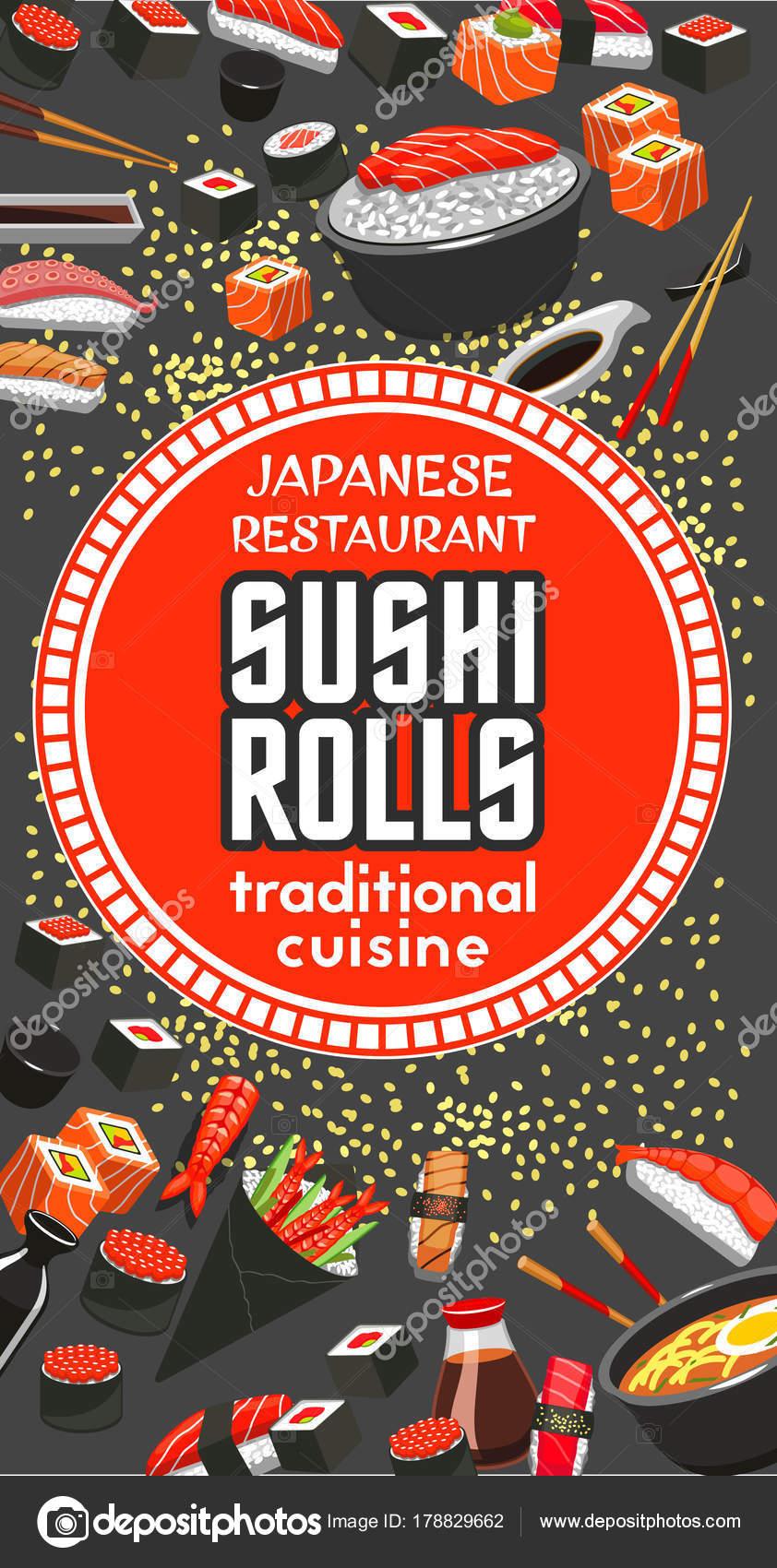 Restaurante japonés sushi roll barra menú — Vector de stock ...