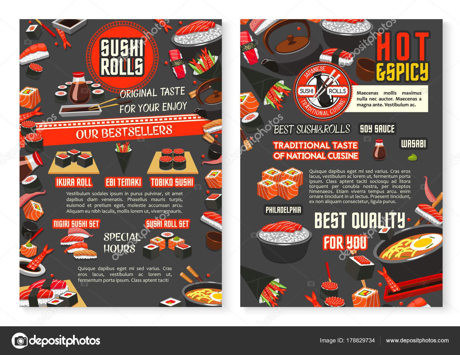 Japanisches Restaurant und Sushi Bar Speisekarte-Plakat ...
