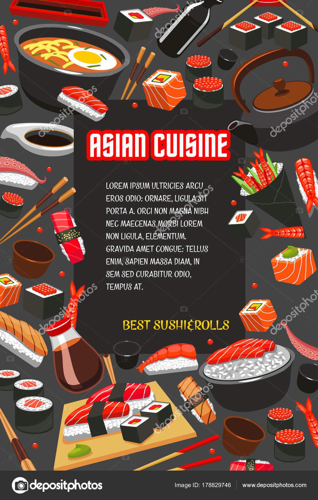 Japanisches Essen Poster von Sushi-Restaurant-Menü — Stockvektor ...