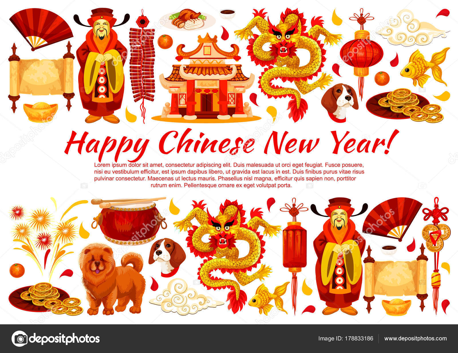 Chinese New Year Symbols Vector Greeting Card Stock Vector
