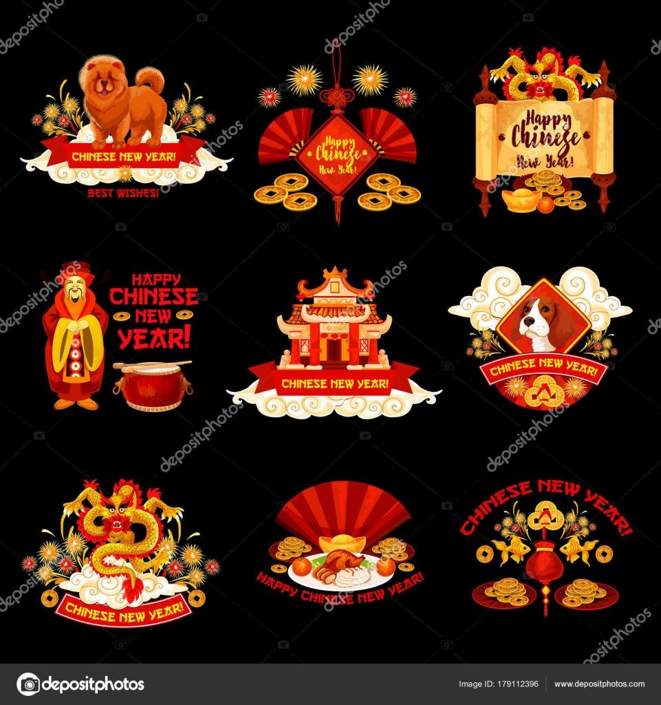 Chinese New Year-Vektor-Dekorationen-icons — Stockvektor ...