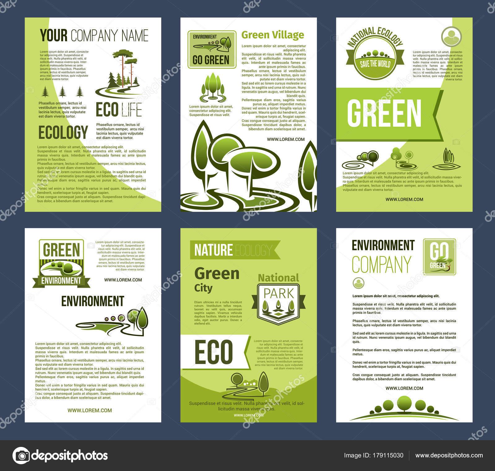 Ciudad de Ecología verde, plantilla de cartel de eco negocios ...