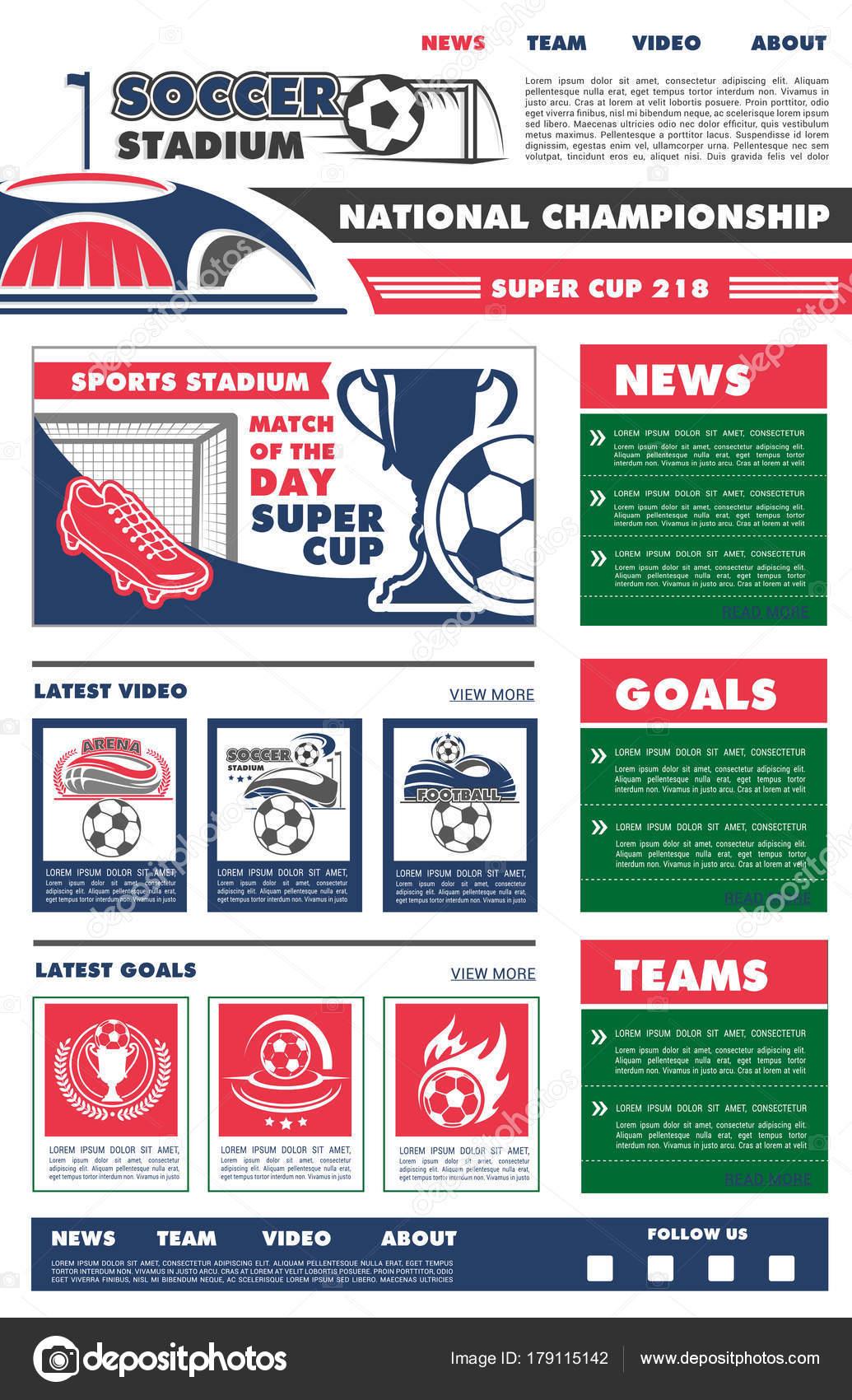 5ead210ae Futebol equipe clube ou futebol esporte notícias web pouso modelo de  página. Vector design de bola de futebol
