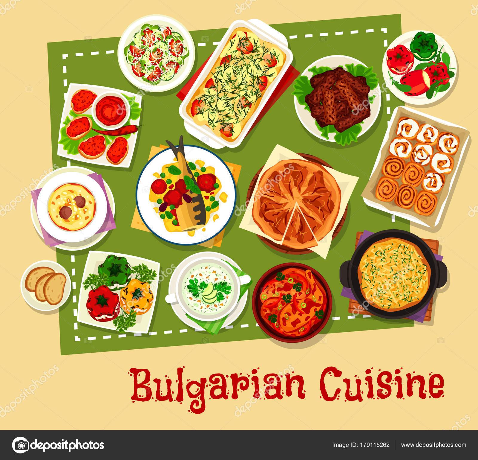 Bulgarische Küche Restaurant Menü Icon-design — Stockvektor ...