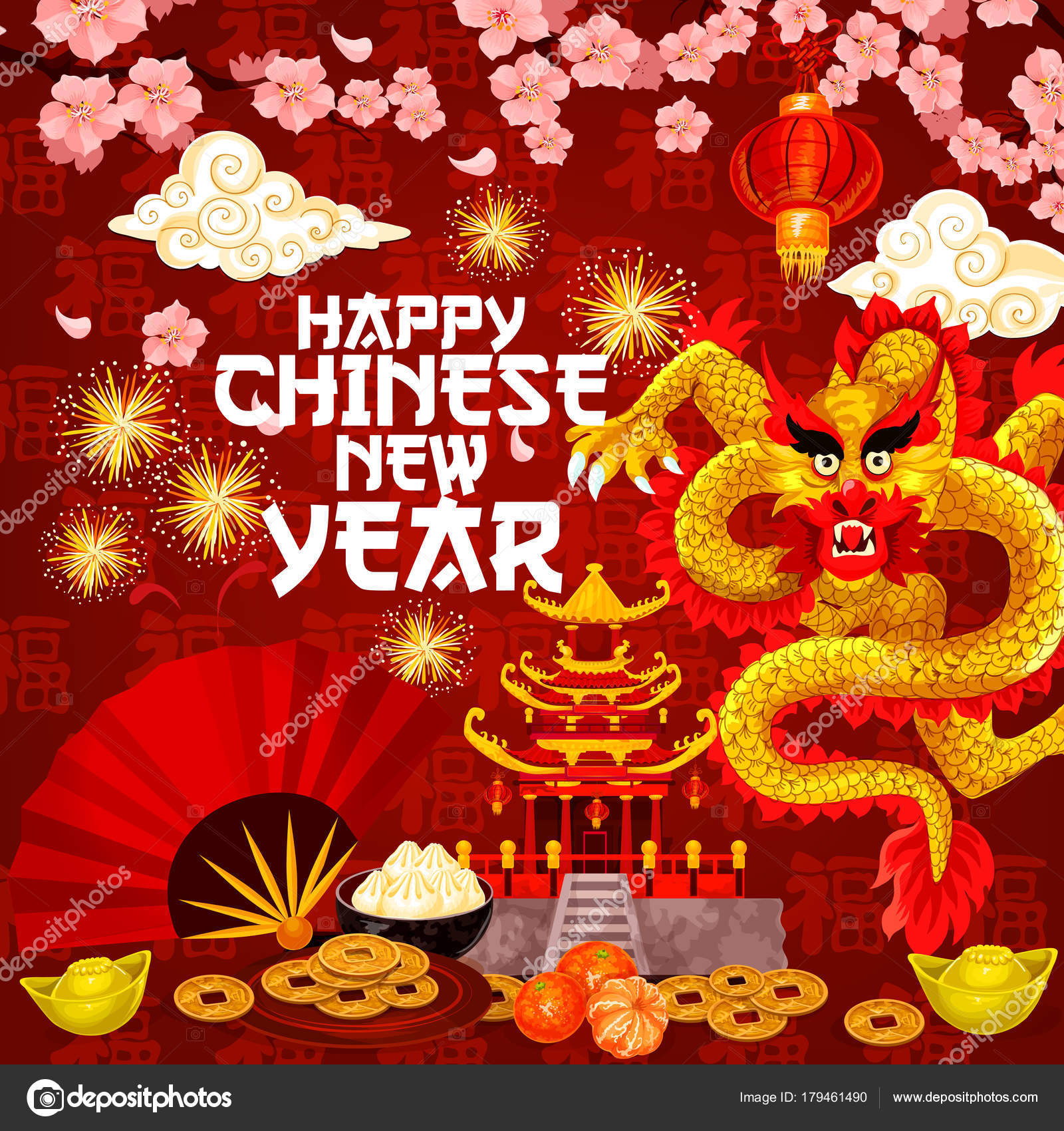 Chinese new year traditional vector greeting card stock vector chinese new year or lunar spring holiday greeting card of cherry blossom flowers and golden dragon in fireworks vector red lanterns gold coins and chinese m4hsunfo