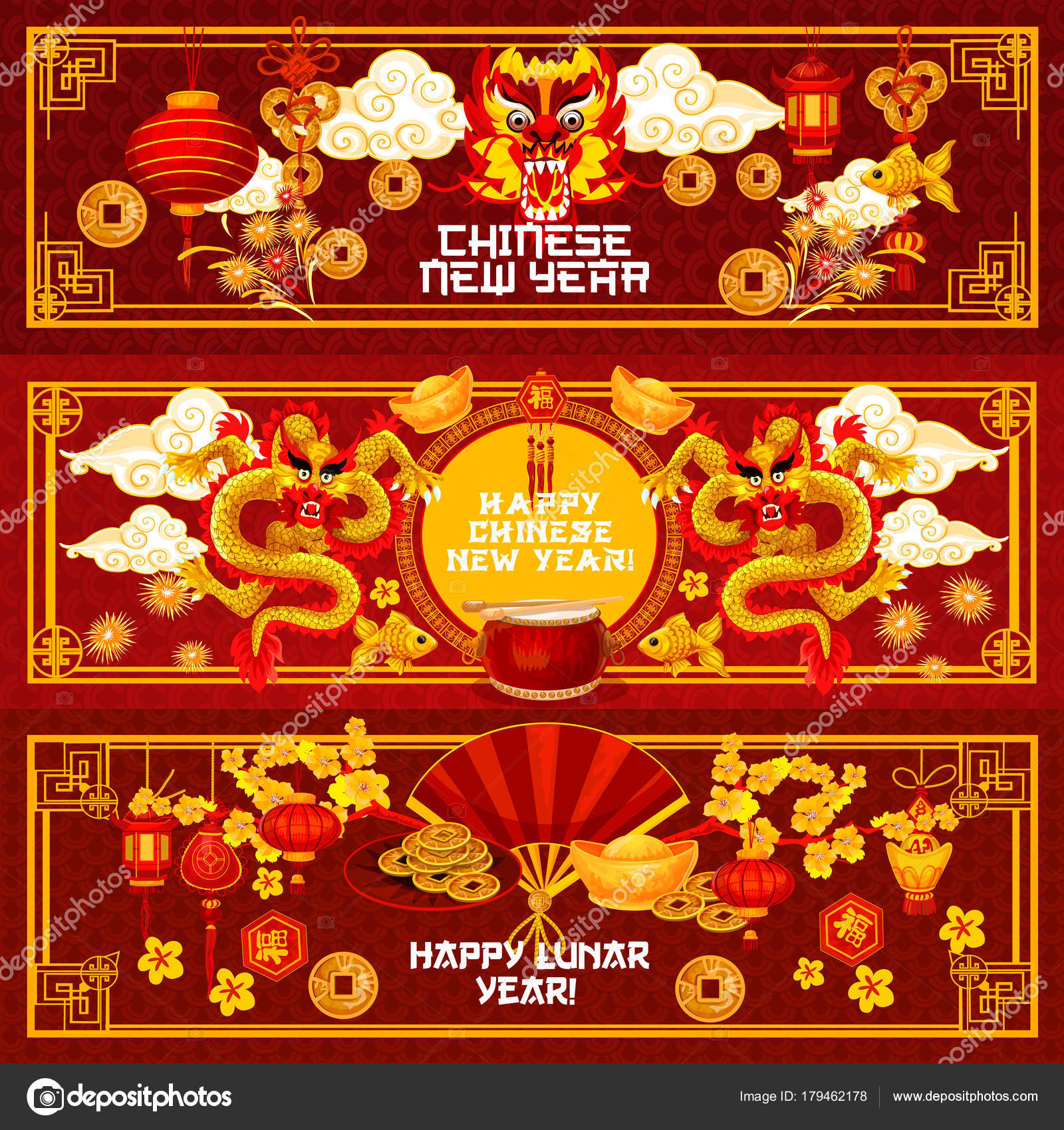 Chinese New Year Ornamente Vektor Gruß Banner — Stockvektor ...
