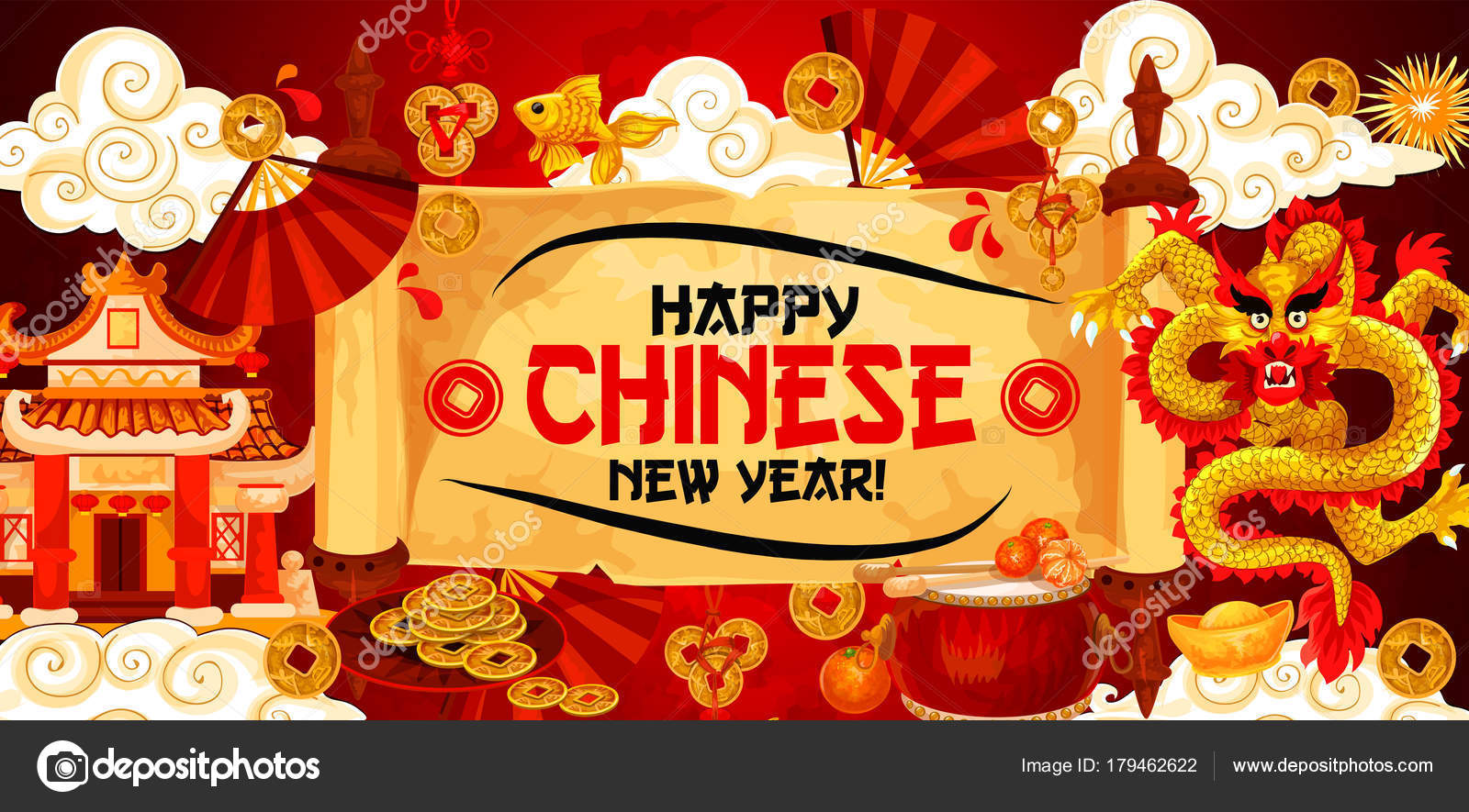 Happy Chinese New Year Vector gold Gruß banner — Stockvektor ...