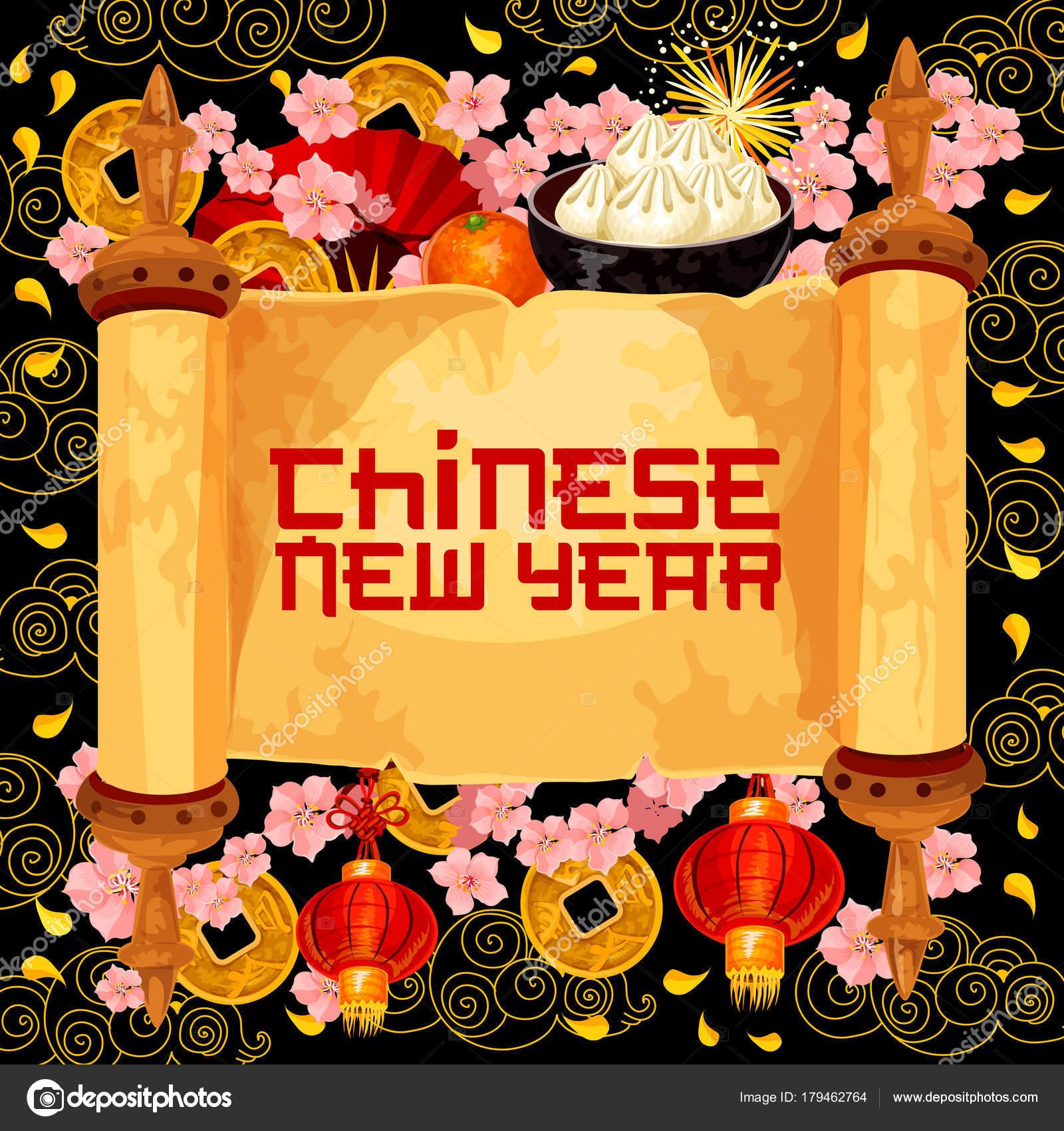 Chinese New Year Wunsch Scroll Vektor Grußkarte — Stockvektor ...