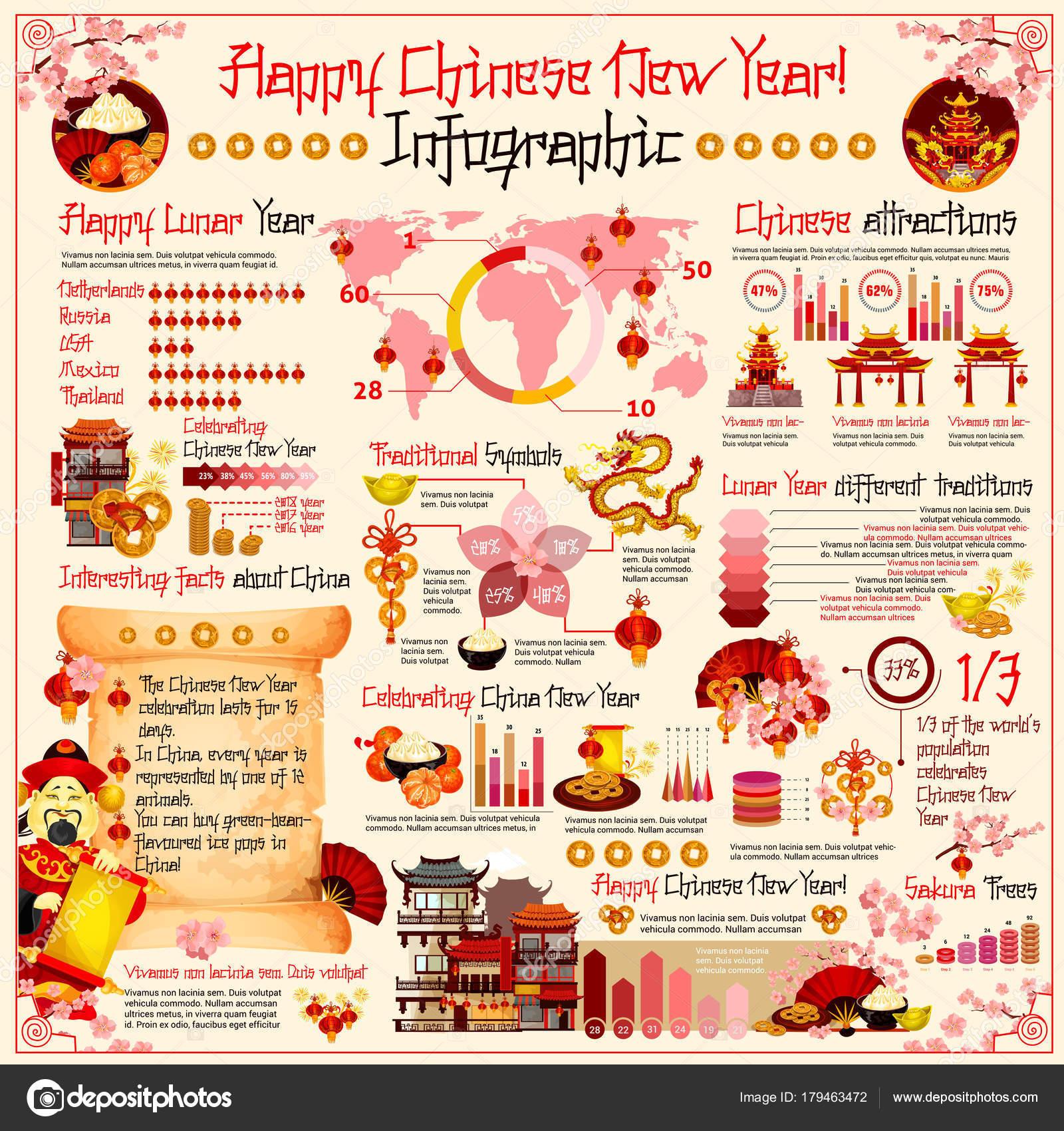 Chinese New Year Vector Urlaub Infografiken — Stockvektor ...