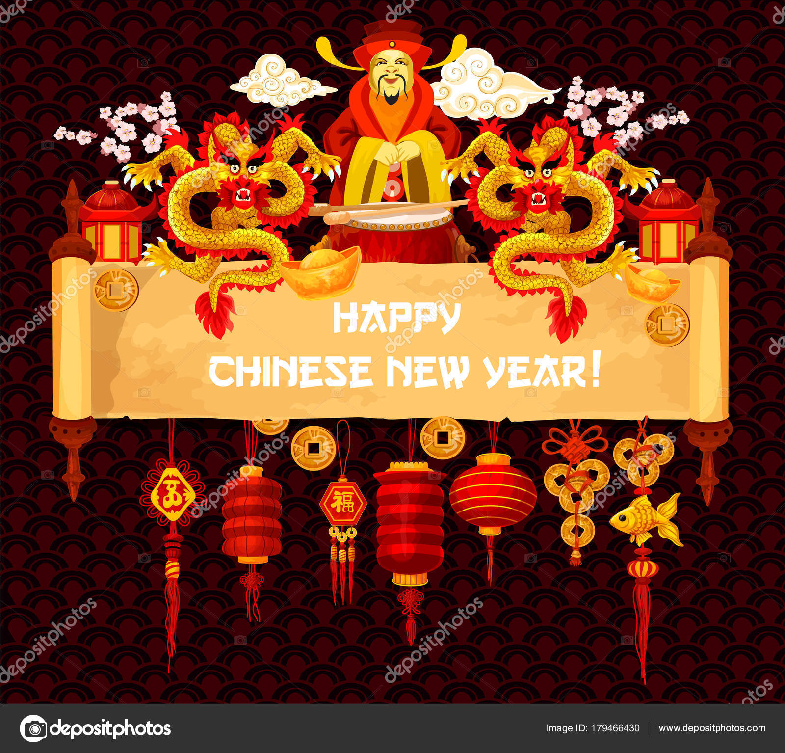 Chinese new year greeting card on parchment scroll stock vector chinese lunar new year greeting card on old scroll oriental lantern golden dragon gold ingot and god of wealth festive parchment decorated by lucky coin kristyandbryce Images