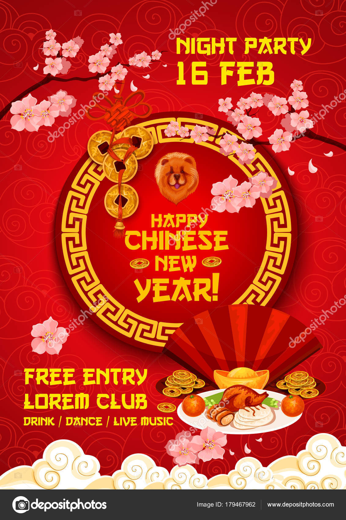 chinese new year party poster with zodiac dog stock vector free chinese new year song - Happy Chinese New Year In Mandarin