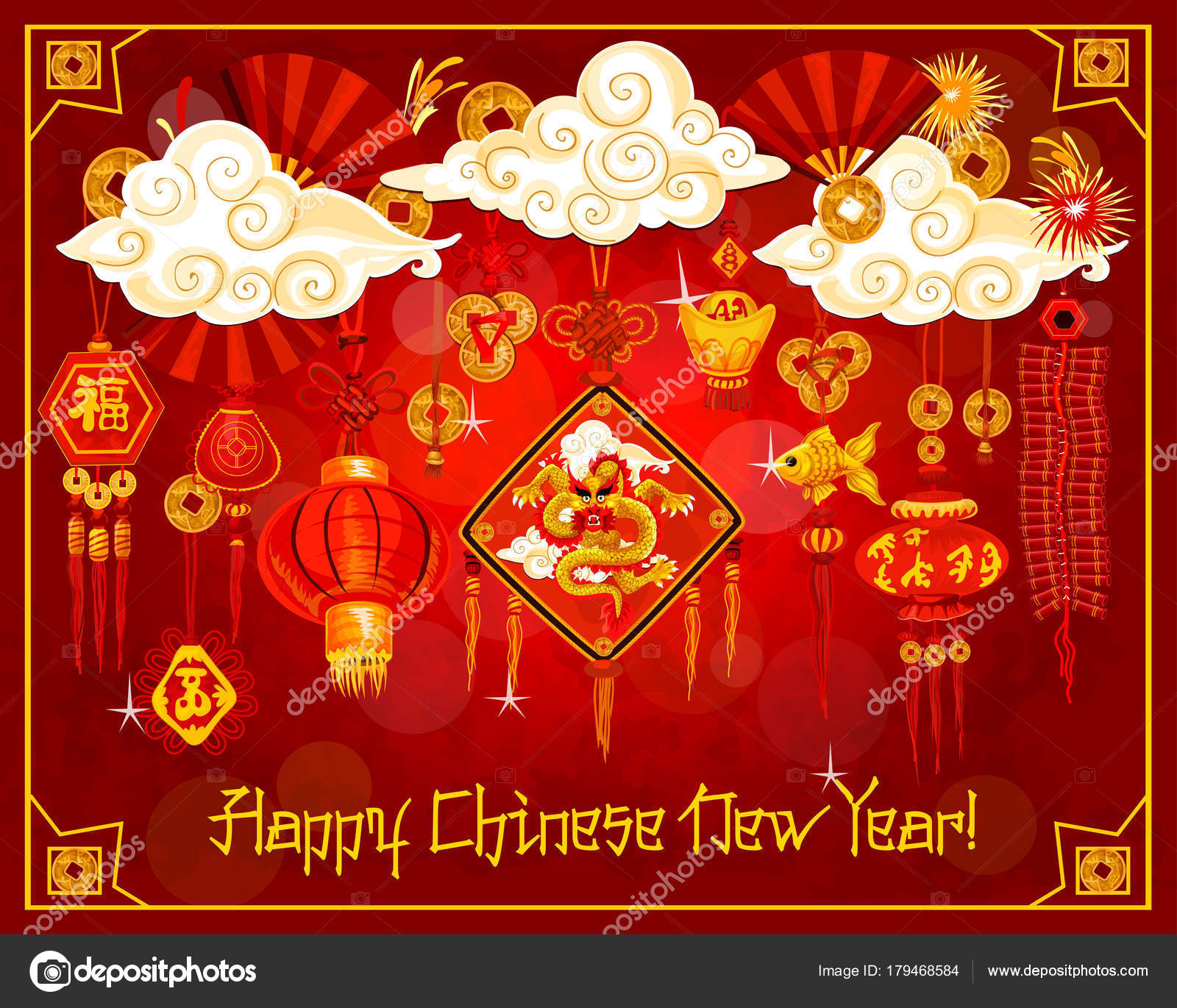 Chinese New Year Poster mit Laterne und Ornamente — Stockvektor ...