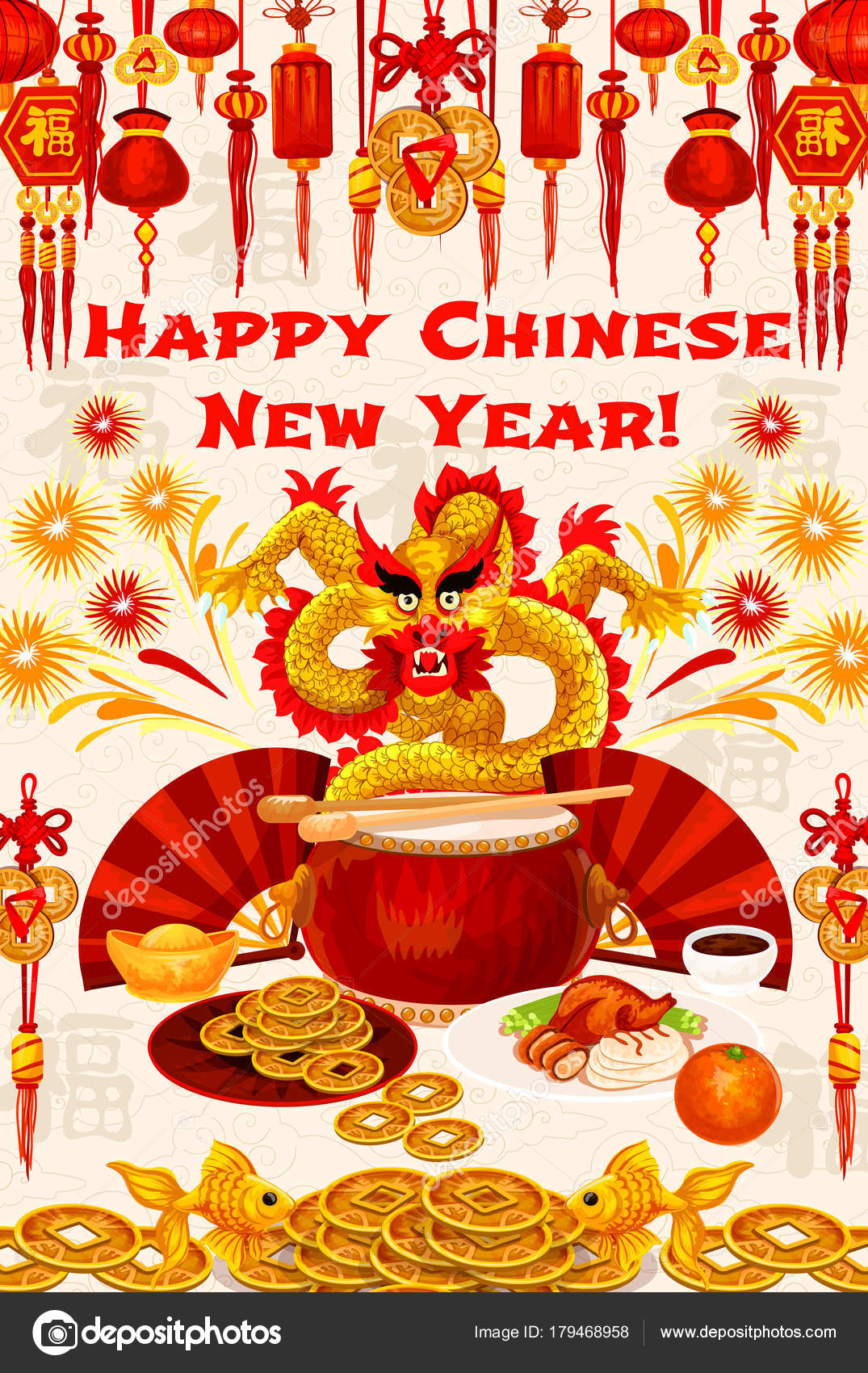 Chinese new year gold symbols vector greeting card stock vector chinese new year greeting wish card of golden dragon and gold chinese symbols of golden coins fish and fireworks vector dragon on drum peking duck and buycottarizona Images