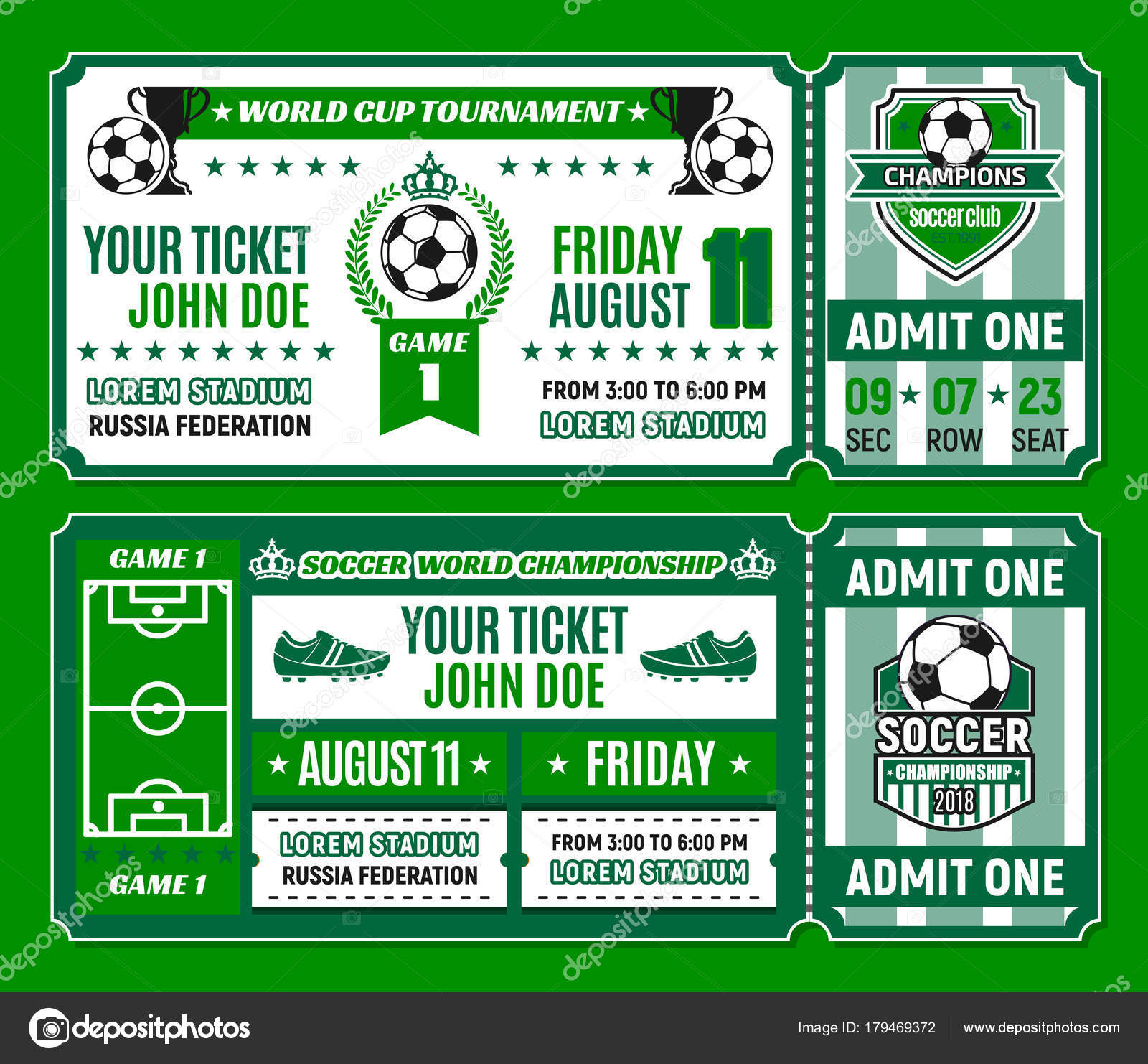 Soccer ticket template of football cup tournament — Stock Vector ...