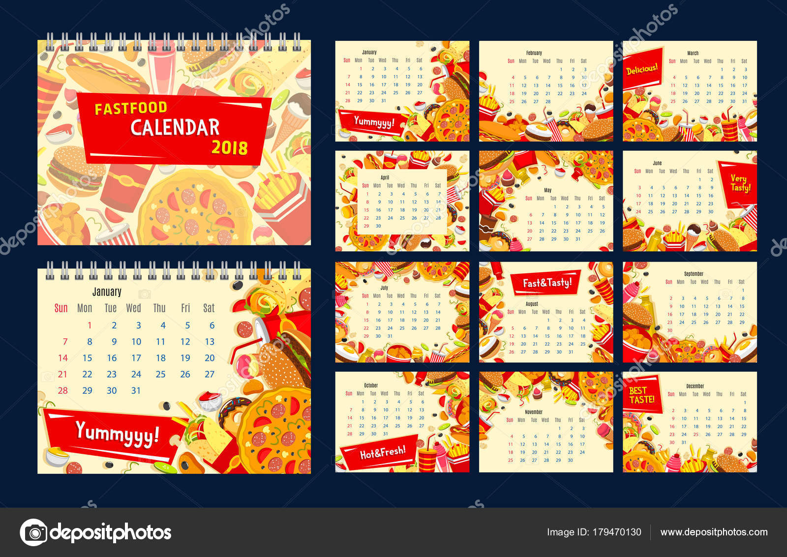 Fast-Food Essen und trinken Jahr Kalendervorlage — Stockvektor ...