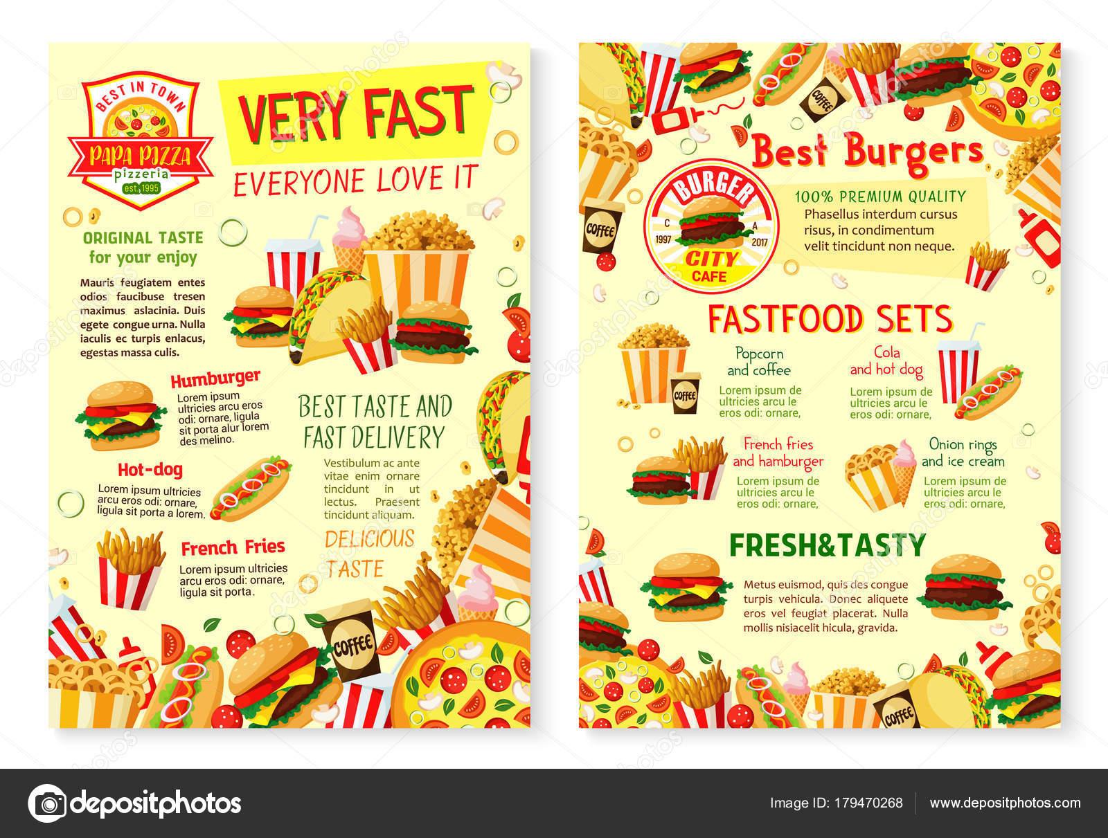 Fast-Food-Restaurant-Poster mit Menüvorlage — Stockvektor ...